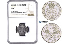 AA525, Danish West Indies, Christian IX, 5 Cents - 25 Bit 1905, Copenhagen, NGC PL65 Pop 2/0, No finer graded! Rare!