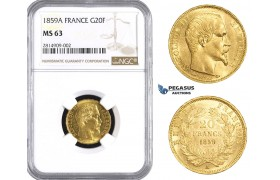 AA527, France, Napoleon III, 20 Francs 1859-A, Paris, Gold, NGC MS63
