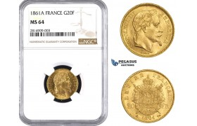 AA528, France, Napoleon III, 20 Francs 1861-A, Paris, Gold, NGC MS64