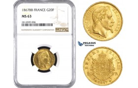 AA531, France, Napoleon III, 20 Francs 1867-BB (Small BB), Strasbourg, Gold, NGC MS63