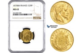 AA533, France, Napoleon III, 20 Francs 1870-BB, Strasbourg, Gold, NGC MS63