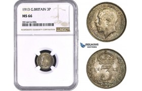 AA541, Great Britain, George V, Threepence (3P) 1913, Silver, NGC MS66, Pop 5/0, No Finer!
