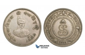 AA545, India, Bikanir, Gangha Singh (Maharaja) 1 Rupee VS1994 (1937) XF (Light Cleaning)