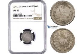AA548, Iran, Muzaffar al-Din Shah, 500 Dinars AH1323 (1905) Tehran, Silver, NGC MS62, Pop 1/0, Very Rare!