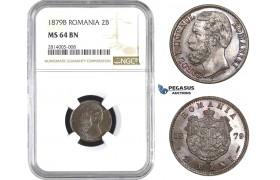 AA557-R, Romania, Carol I, 2 Bani 1879-B, Bucharest, NGC MS64BN