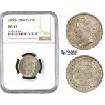 AA579, Straits Settlements, Victoria, 20 Cent 1900-H, Heaton, Silver, NGC MS61, Pop 2/0, Rare Grade!