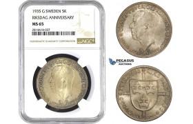 AA580, Sweden, Gustaf V, 5 Kronor 1935 (Riksdag Anniversary) Silver, NGC MS65, Pop 9/1
