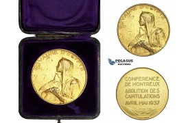 AA591, Egypt, Silver Gilt Medal 1937 (Ø50mm, 50.4g) by Huguenin, Montreaux Conference, Abolition of Capitulations