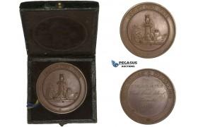 AA615, Sweden, Bronze Medal 1877 (Ø39mm, 22.3g) Stockholm Handcraft School, Owl, Bee Hive