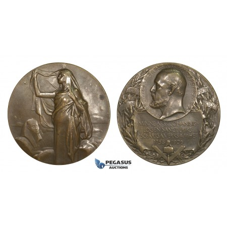 AA616, Sweden, Bronze Medal 1906 (Ø50mm, 66.8g) by Lindberg, Masonic Lodge, Egyptian Sphinx