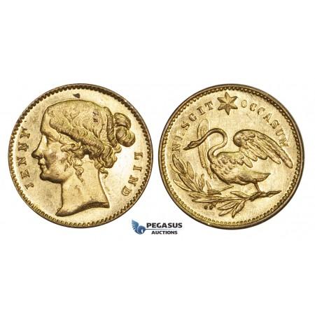 AA618, Sweden, Jenny Lind, Gilt Bronze Medal (Ø19mm, 2.4g) Music, Opera Singer