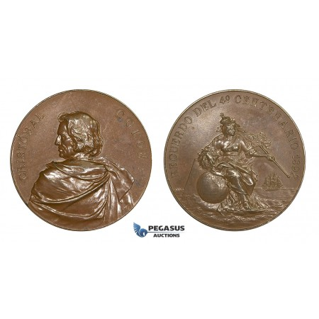 AA625, United States, Bronze Medal 1892 (Ø45mm, 40.5g) by Lauer, Christopher Columbus, Discovery of America 400 Years