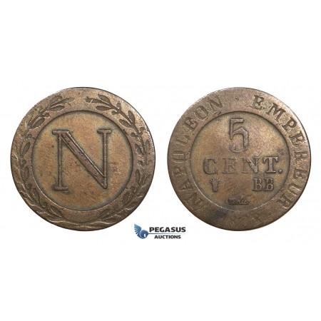 AA628, France, Napoleon, 5 Centimes 1808-BB, Strasbourg, VF
