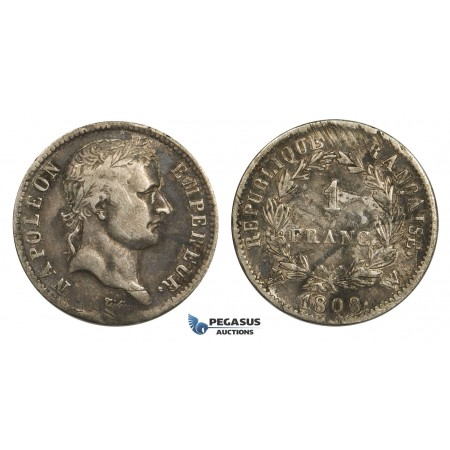 AA630, France, Napoleon, 1 Franc 1808-W, Lille, Silver, Toned aVF