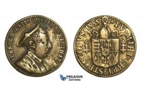 AA632, France, Lorraine, Charles de Lorraine, Jeton Medal 1585 (Ø34mm, 12.98g) Bronze, VF, Rare!