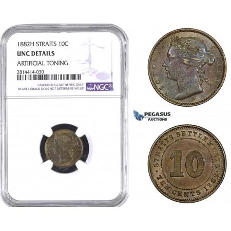 AA636, Straits Settlements, Victoria, 10 Cents 1882-H, Heaton, NGC UNC Details