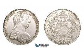 AA639, Austria, Maria Theresia, Taler 1780 IC FA, Vienna, Silver (27.96g) Edge Flaw, Scratched & Cleaned XF