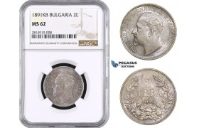 AA644, Bulgaria, Ferdinand, 2 Leva 1891 KB, Kremnitz, Silver, NGC MS62, Rare!