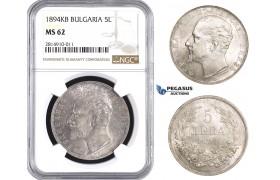 AA646, Bulgaria, Ferdinand, 5 Leva 1894 KB, Kremnitz, Silver, NGC MS62