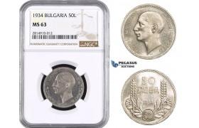 AA647, Bulgaria, Boris III, 50 Leva 1934, Silver, NGC MS63