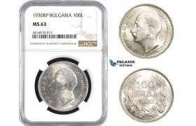 AA648, Bulgaria, Boris III, 100 Leva 1930 BP, Budapest, Silver, NGC MS63