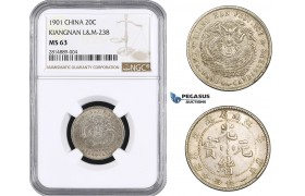 AA652, China, Kiangnan, 20 Cents 1901, Silver, L&M 238, NGC MS63
