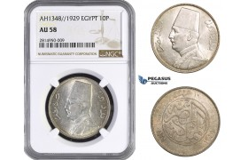 AA664, Egypt, Fuad, 10 Piastres AH1348/1929, Silver, NGC AU58