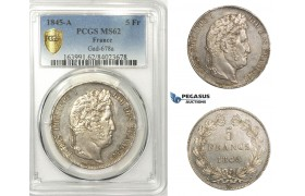 AA667, France, Louis Philippe I, 5 Francs 1845-A, Paris, Silver, PCGS MS62