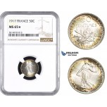 AA668, France, Third Republic, 50 Centimes 1917, Paris, Silver, NGC MS65★