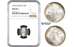 AA669, France, Third Republic, 50 Centimes 1920, Paris, Silver, NGC MS66+
