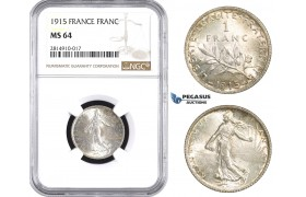AA670, France, Third Republic, 1 Franc 1915, Paris, Silver, NGC MS64
