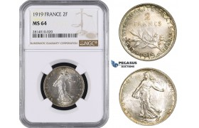 AA673, France, Third Republic, 2 Francs 1919, Paris, Silver, NGC MS64