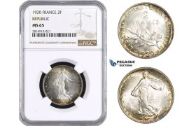 AA674, France, Third Republic, 2 Francs 1920, Paris, Silver, NGC MS65