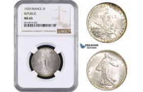 AA675, France, Third Republic, 2 Francs 1920, Paris, Silver, NGC MS65