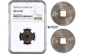 AA676, French Cochine-China, 2 Sapeque 1879-A, Paris, NGC MS63BN