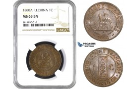 AA678, French Indo-China, 1 Centime 1888-A, Paris, NGC MS63BN
