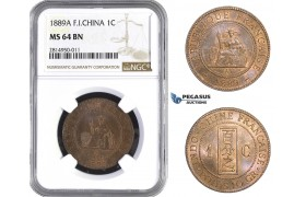 AA679, French Indo-China, 1 Centime 1889-A, Paris, NGC MS64BN
