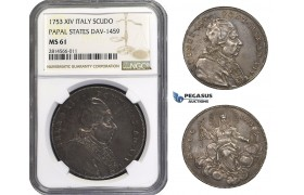 AA686, Italy, Papal States, Benedict XIV, Scudo 1753, Silver, NGC MS61, Rare so nice!