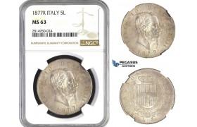 AA689, Italy, Vitt. Emanuele II, 5 Lire 1877-R, Rome, Silver, NGC MS63