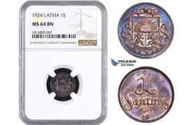 AA691, Latvia, 1 Santims 1924, NGC MS64BN