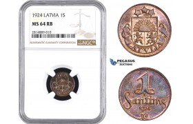AA692, Latvia, 1 Santims 1924, NGC MS64RB