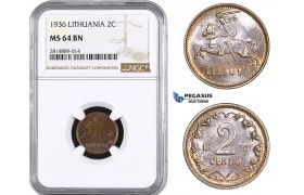 AA696, Lithuania, 2 Centai 1936, NGC MS64BN