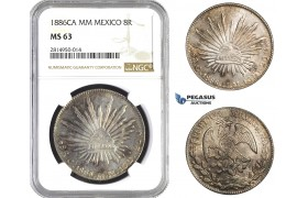 AA698, Mexico, 8 Reales 1886 Ca MM, Chihuahua, Silver, NGC MS63