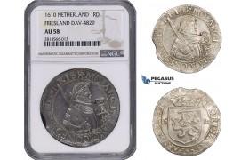 AA699, Netherlands, Friesland, 1 Daalder 1610, Silver, Dav. 4829, NGC AU58