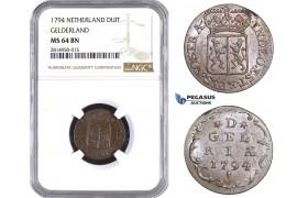 AA700, Netherlands, Gelderland, Duit 1794, NGC MS64BN, Pop 3/0