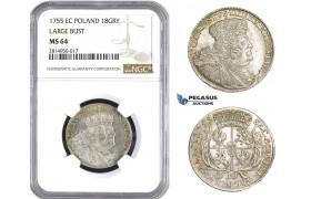 AA703, Poland, August III, 18 Groschen (Ort) 1755 EC, Leipzig, Silver, NGC MS64
