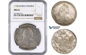 AA707, Russia, Anna, Rouble 1738, Moscow Kadashevsky Mint, Silver, NGC MS61