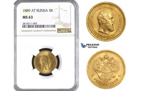 AA709, Russia, Alexander III, 5 Roubles 1889 (АГ) St. Petersburg, Gold, NGC MS63