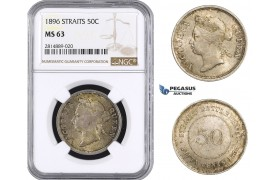 AA714, Straits Settlements, Victoria, 50 Cents 1896, Silver, NGC MS63, Pop 2/0, Very Rare!