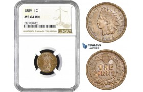AA720, United States, Indian Cent 1889, Philadelphia, NGC MS64BN